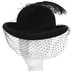 1960s Women's Bowler Hat w/ Veil & Feather