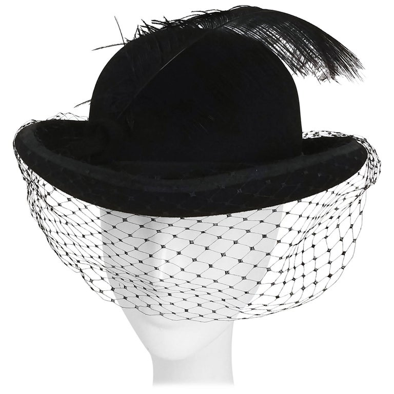 1960s Women's Bowler Hat w/ Veil & Feather