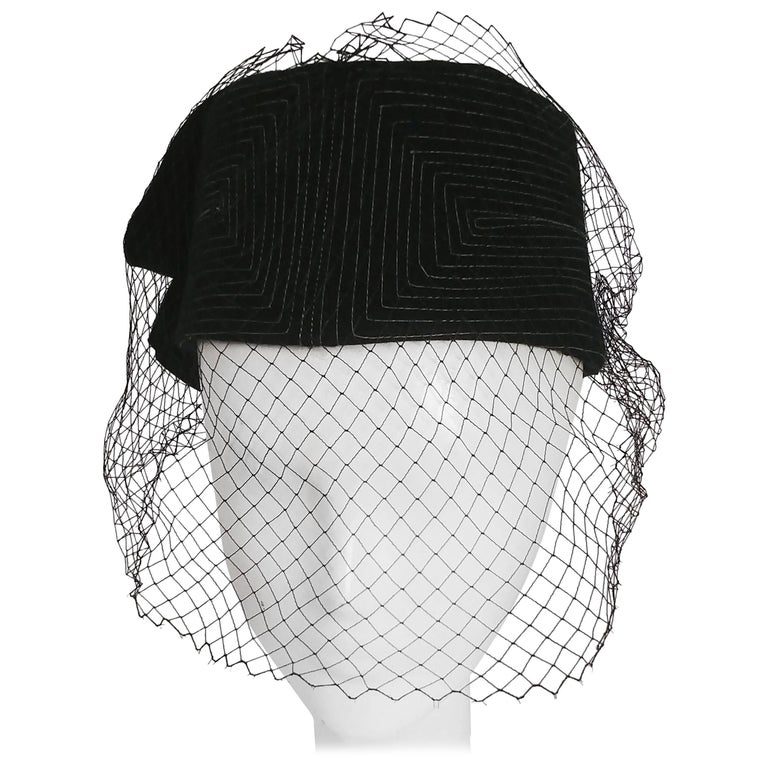 1960s Black Hat w/ White Topstitching & Net