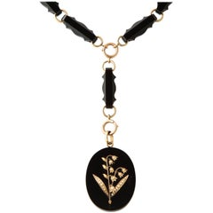 Antique Onyx Chain and Locket