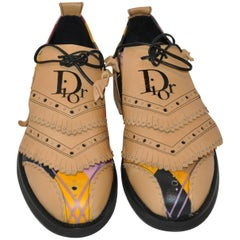 "Christian Dior ""Limited Edition"" Multi-Abstract Fringe Gold Shoes"