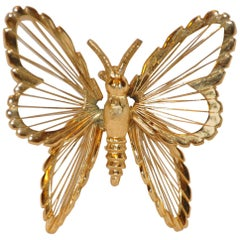 "Monet Multi-Textured Gilded Gold Hardware ""Butterfly"" Brooch"