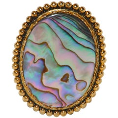 Natural Abalone with Gilded Gold Brooch