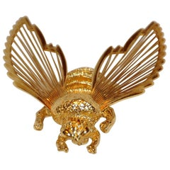 "Monet Gilded Gold Vermeil Hardware ""Bumble Bee"" Brooch"