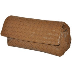 Bottega Veneta Beige Lambskin Sectional Woven Clutch