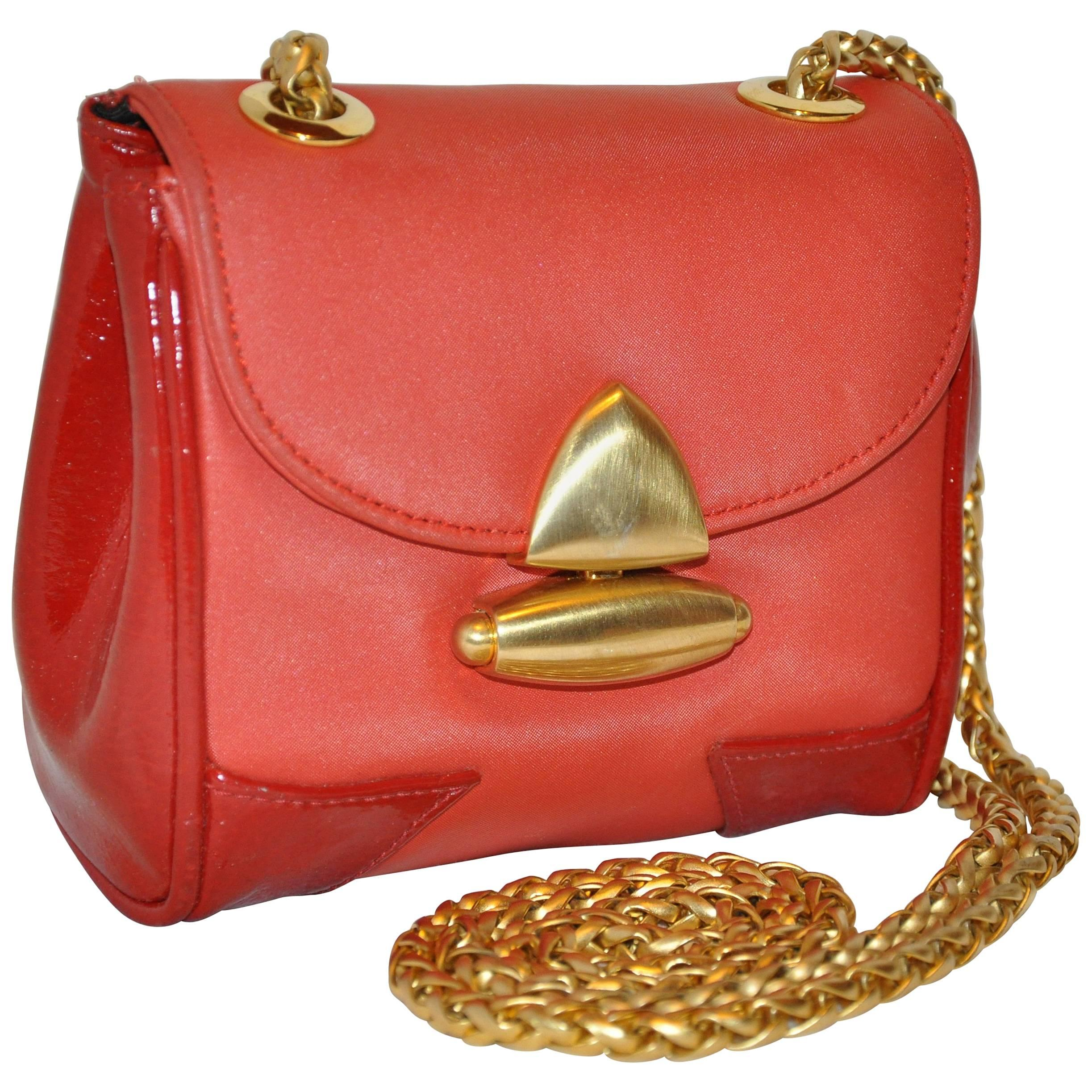 MCM Red with Red Patent Leather Calfskin Miniature Evening Shoulder Bag
