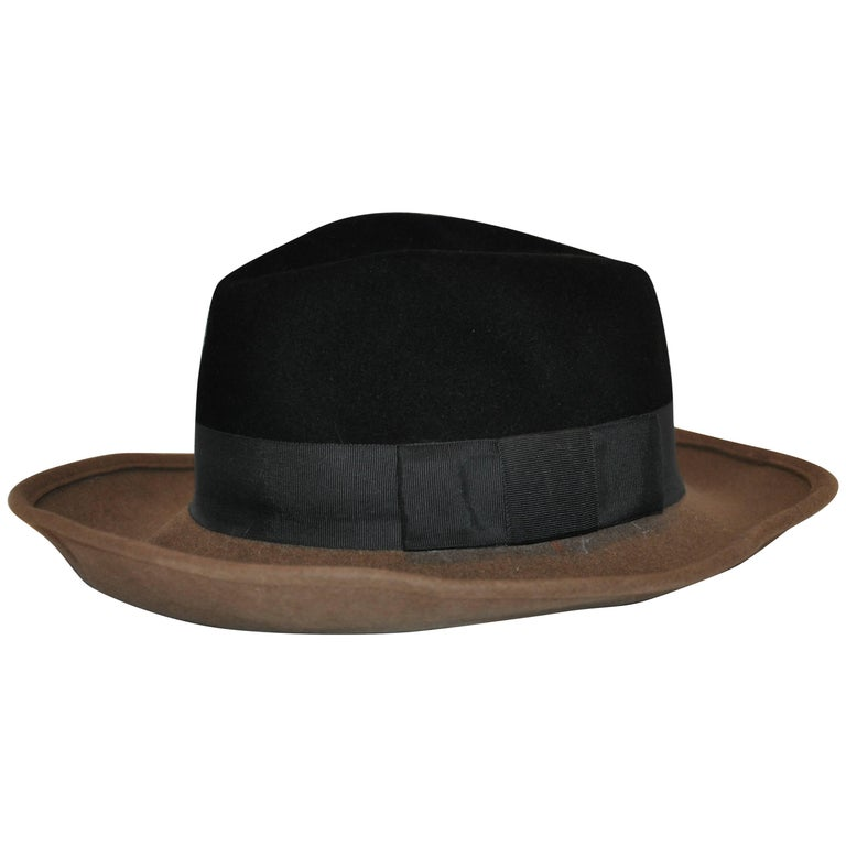 Adolfo Warm Brown and Black Wool Felt with Black Band Wide Brim Hat For Sale