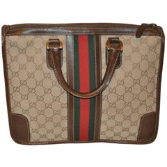 "Gucci ""GG"" Canvas with Signature Stripe Zippered Top Tote"
