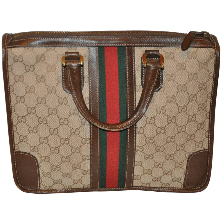 """Gucci """"GG"""" Canvas with Signature Stripe Zippered Top Tote  For Sale"""