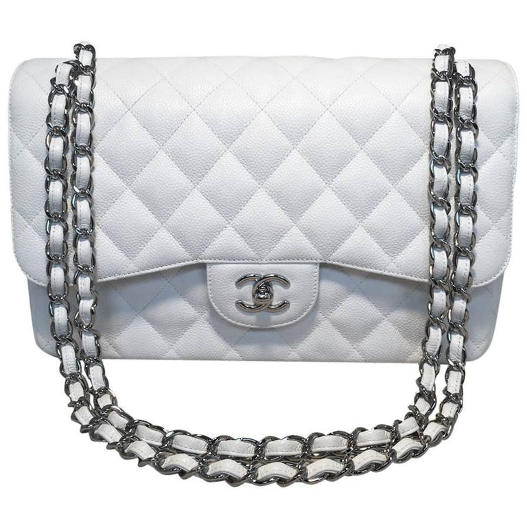 96b2b0729a24a6 Chanel White Caviar Leather Jumbo 2.55 Double Flap Classic Shoulder Bag For  Sale