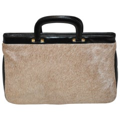 "Greta Natural Pony-Skin with Black ""Spring Back"" Opening Top Handbag"