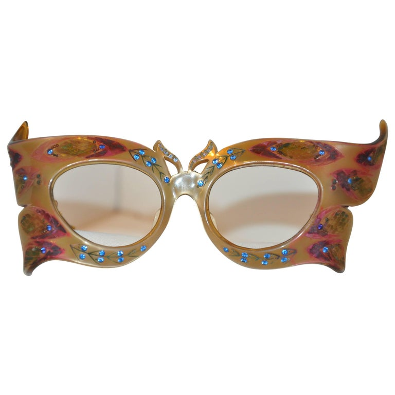 """Peggy Guggenheim"" Style Detailed ""Bat-Wings"" Masquerade Frames"