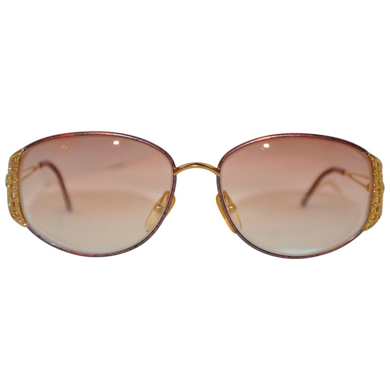 Christian Dior Gilded Gold Hardware Accented with Woven Arms Sunglasses