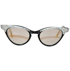 "Matted Silver Hardware with Black Lucite ""Cat Eyes"" Glasses"