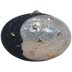 Judith Leiber Swarovski Crystal Moon and Stars Minaudiere Evening Bag