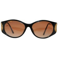 "Christian Dior Black Lucite Glasses Accented with Etched Gilded Gold ""O"" Arms"