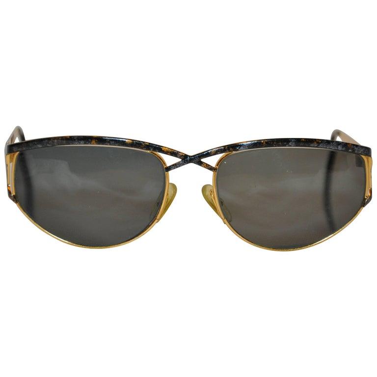 "Laura Biagiotti Shades of Black & Gold ""Confetti"" Over Gold Hardware Glasses"
