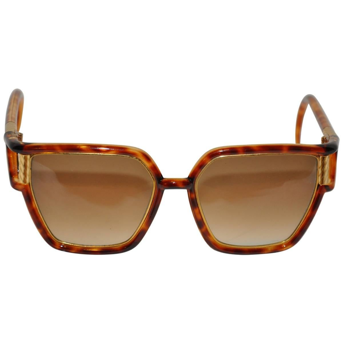 Ted Lapidus Large Tortoise Shell Accented with Gilded Gold Hardware Sunglass