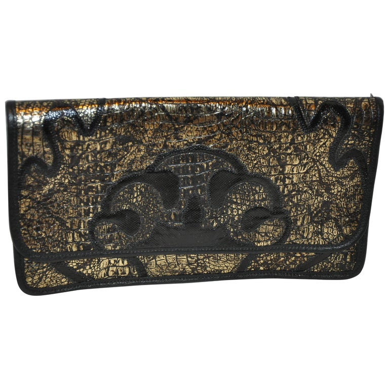 Carlos Falchi Black & Gold Embossed Alligator Calfskin Clutch/ Shoulder Bag For Sale