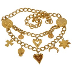 "Gilded Gold Vermeil Hardware Double-Row Chain-Link Multi ""Charms"" Belt"