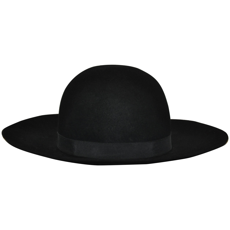 Yves Saint Laurent Black Wool Felt Wide Brim Hat