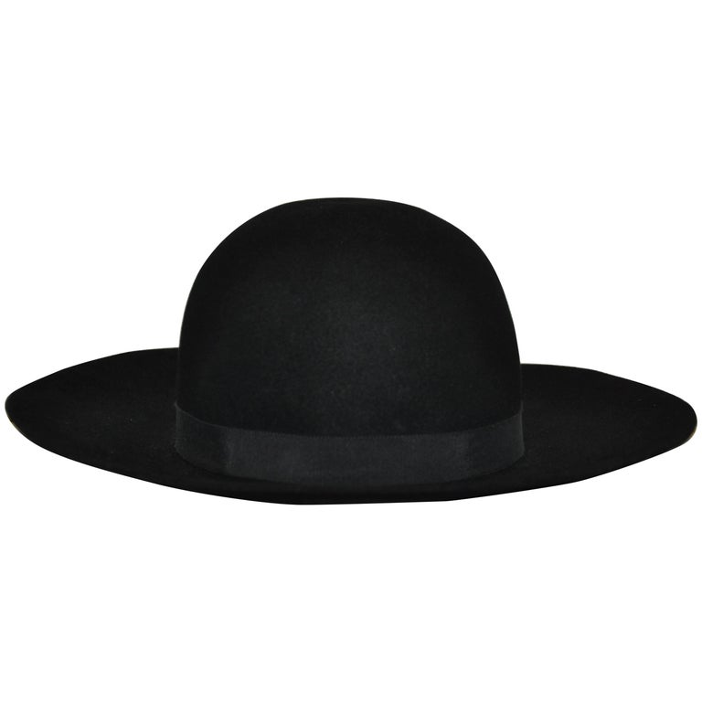Yves Saint Laurent Black Wool Felt Wide Brim Hat