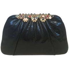 Judith Leiber Black Lizard Round Stone Top Accent Clutch