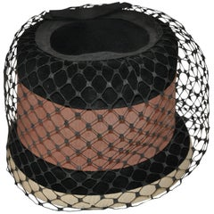 Tall Black Wool Felt Detailed with Brown and Beige Accent Netted Hat