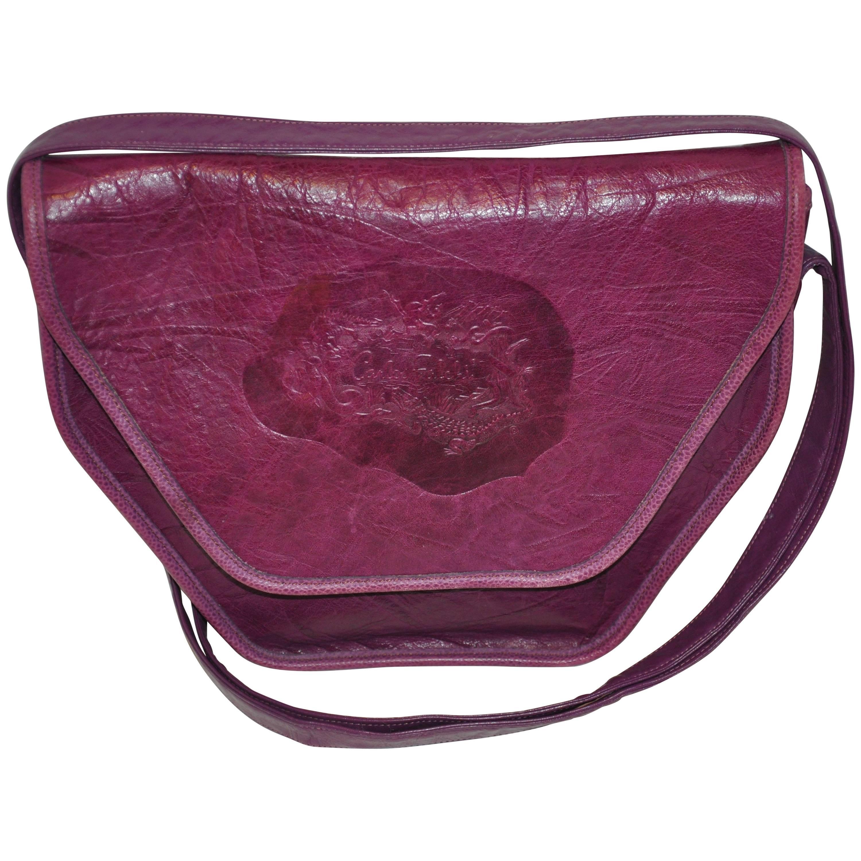 Carlos Falchi Textured Violet Buffalo Shoulder Bag With Embossed Detail