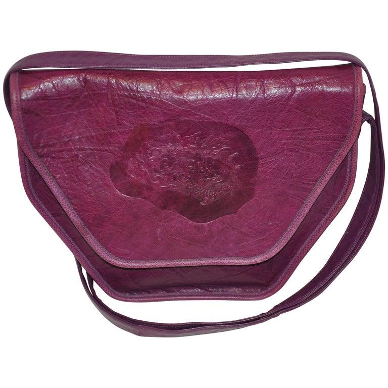 Carlos Falchi Textured Violet Buffalo Shoulder Bag With Embossed Detail For Sale