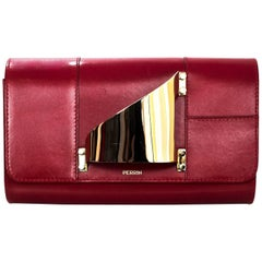 Perrin Red Leather L'Eiffel Glove Clutch with DB