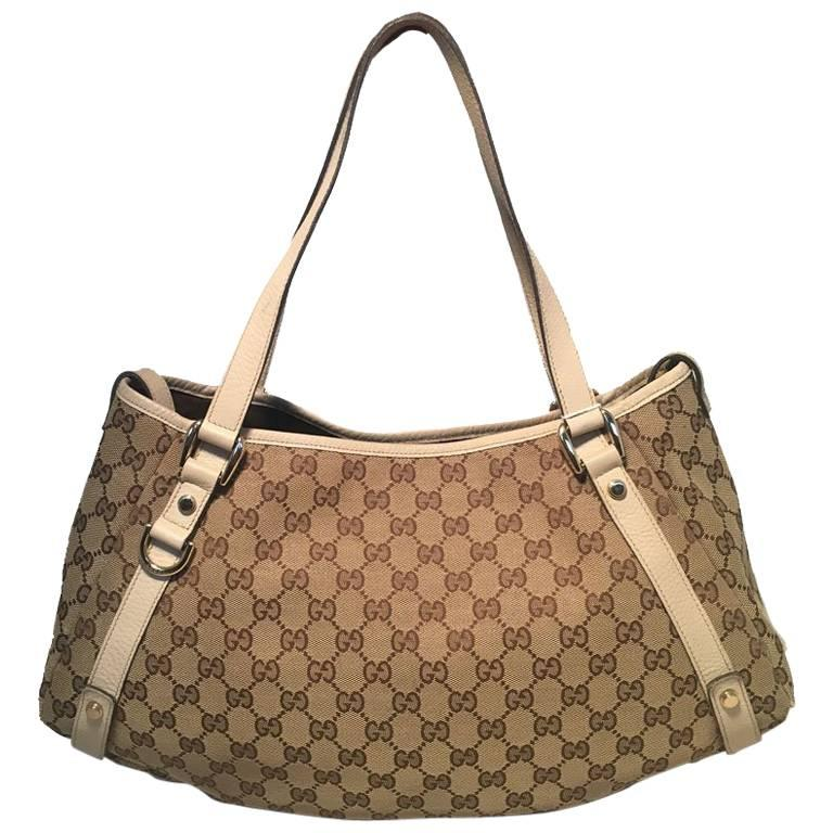 Gucci Beige Leather And Monogram Abby Tote Shoulder Bag For