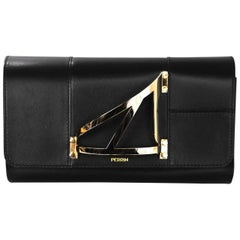 8/28 Perrin Black Leather L'Eiffel Cage Glove Clutch with DB