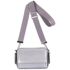 GUCCI Stone Gray Patent Leather Structured Flap Top Crossbody Bag Purse