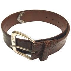 Ralph Lauren Brown Alligator Belt - Sterling Silver Buckle - Size 90 / 75