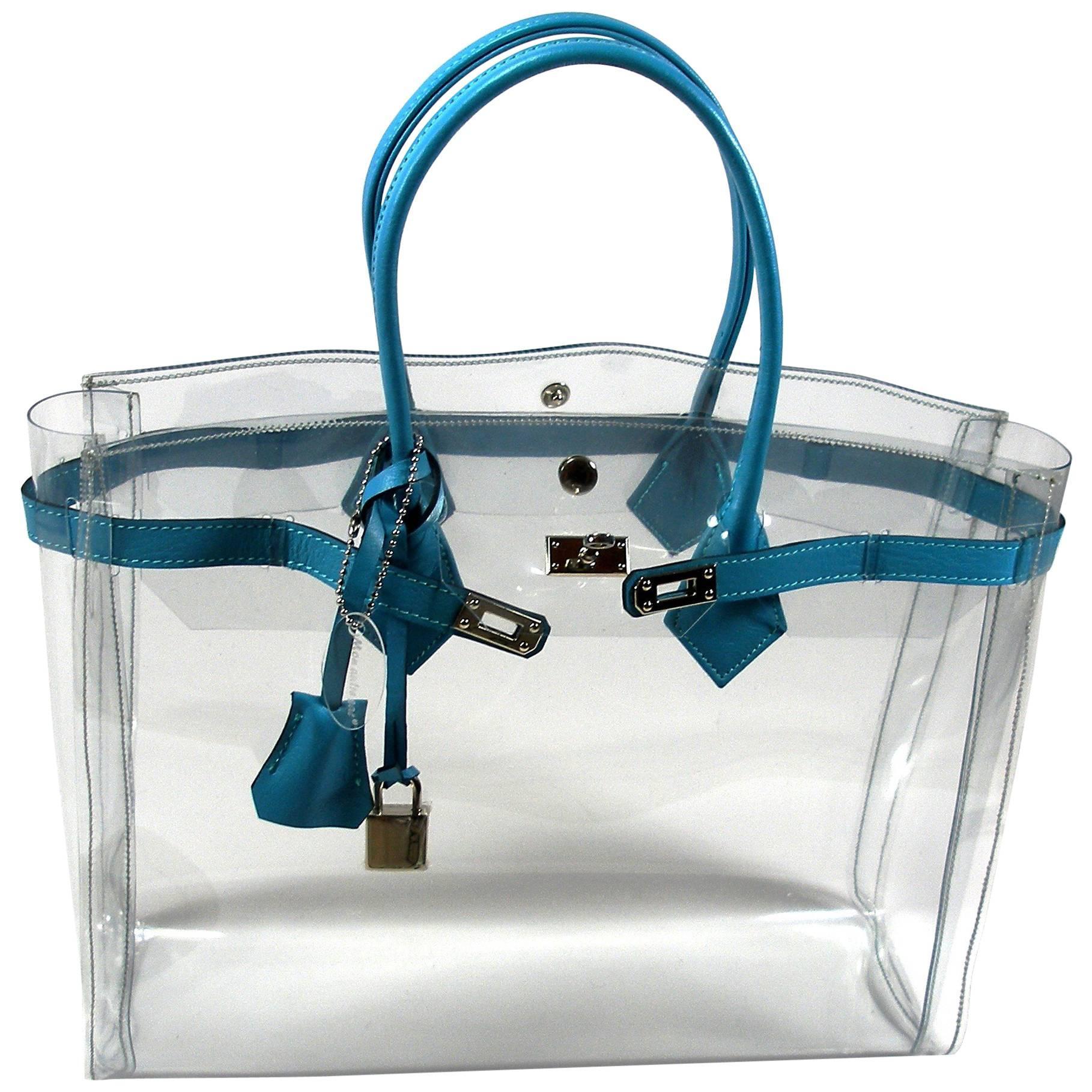 1stdibs Original Mon Autre Sac Cabas Diamant Pvc And Bleu Ciel Leather / Brand New LyX22CT
