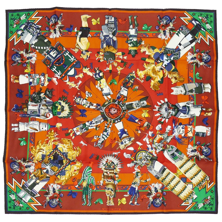Hermes Vintage Rare Iconic Silk Carre Scarf Kachinas by Kermit Oliver