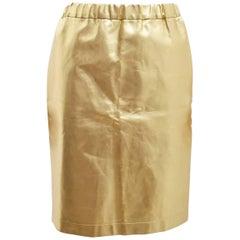 Comme des Garcons Gold Faux Leather A-line Skirt