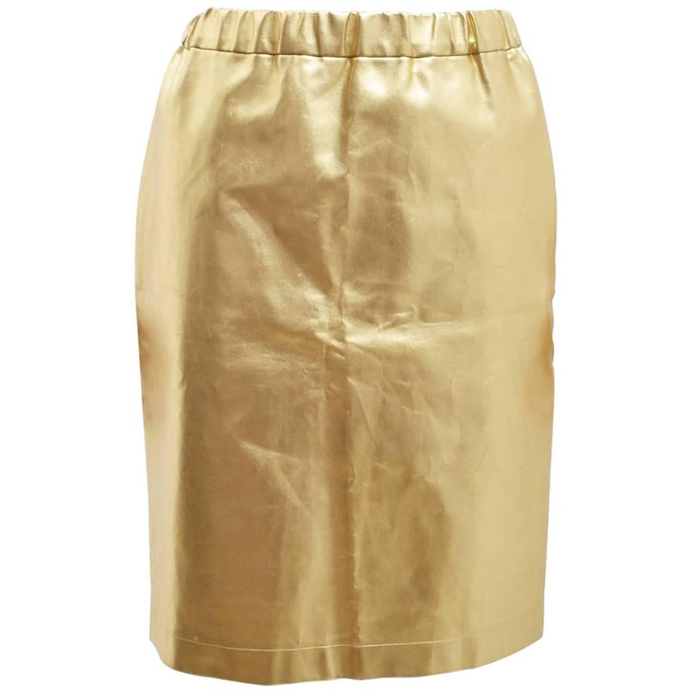 comme des garcons gold faux leather a line skirt at 1stdibs