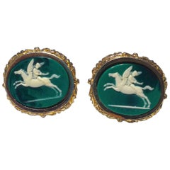 Vintage Dante Gold and Emerald Carved Incolay Cameo Cufflinks