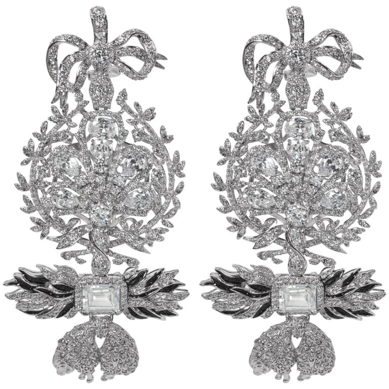 Magnificent Costume Jewelry Large  Diamond Order of the Golden Fleece earrings 1