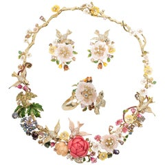 Magnificent 'Italian Garden of Eden' Necklace Earrings Ring Parure