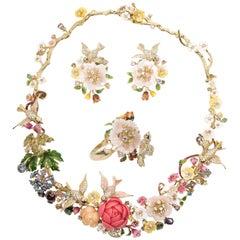 Magnificent 'Italian Garden of Eden' Necklace Earrings Ring Parure