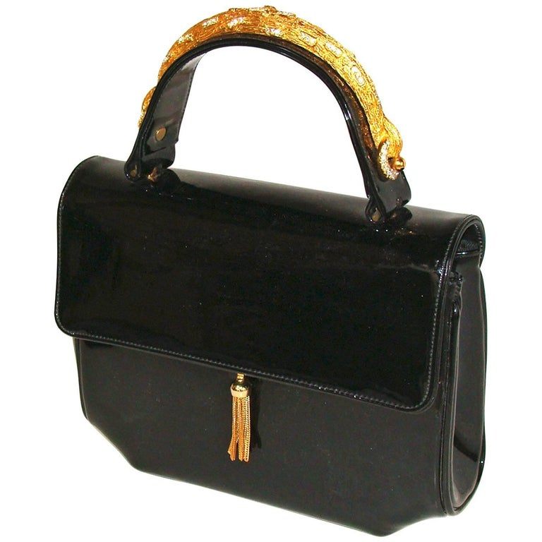 Black Patent Leather Bag With Rhinestones SUMMER!