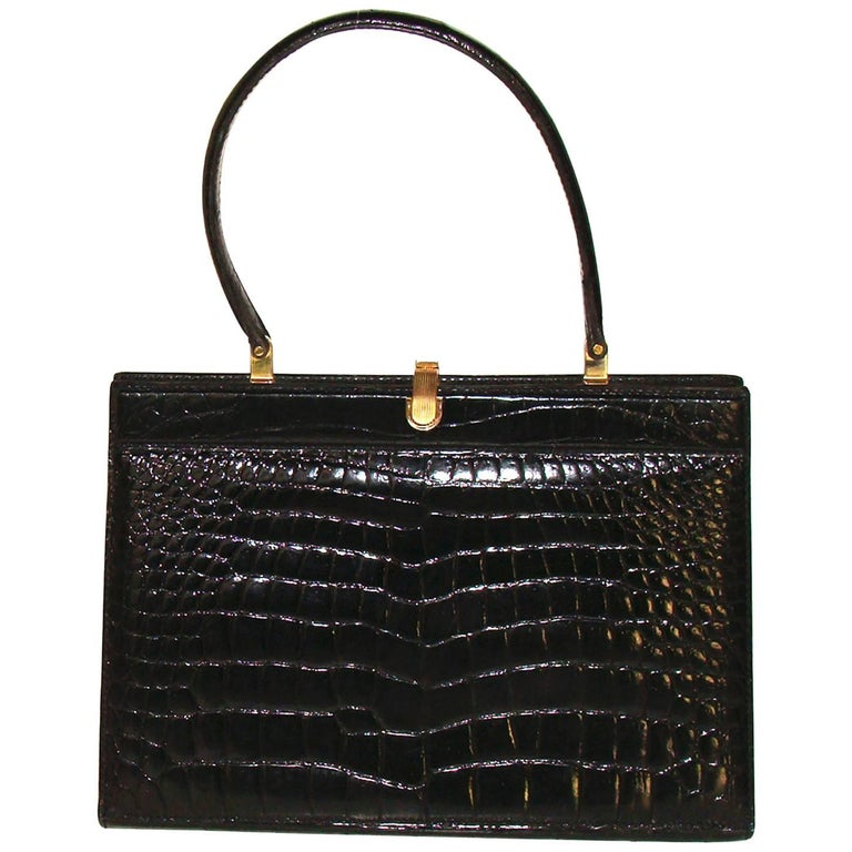 Large Structured Black Alligator Center Skin Kelly Bag