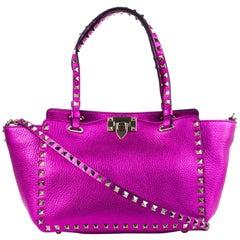 Valentino Women's Metallic Small Rockstud Trapeze Pink Tote Bag