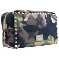 Valentino Women's Brown Camouflage Printed Nylon Pouch