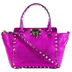 Valentino Metallic Mini Rockstud Trapeze Pink Tote Bag