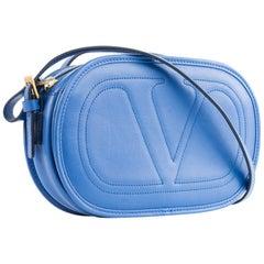 Valentino Women's Logo Go Small Calfskin Blue Cross Body Bag