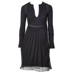 Balenciaga Chiffon and Jersey knit Dress with Trapunto Detail